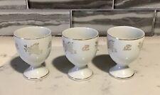 3 White Porcelain Egg Cups Trimmed In Gold, Japan