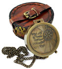 Brass Compass w/ Leather Case Dad /Mother Gift, Husband Wife, Daughter Son Gifts