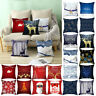 "18"" Christmas Xmas Cushion Cover Pillow Case Cotton Linen Home Sofa Throw Decor✅"