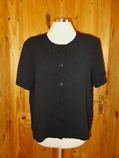 ORVIS black seersucker crinkle short sleeve blouse shirt top tunic M 14 42