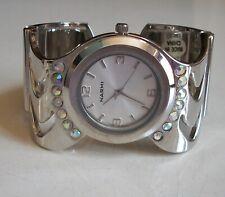 Silver Finish Rhinestones Women's Bangle Cuff Dressy/Casual Watch