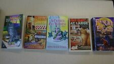 5 Cat Mystery books Lot Carol J. Perry, Claire Donally, Eva Gates, Isis Crawford