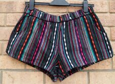 ECOTE MULTI COLOUR STRIPED STRIPE DENIM COTTON RUNNER HOT PANTS SHORTS 10 S