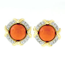Tiffany & Co. 1985 18k Yel Gold & Platinum GIA Coral & Diamond Button Earrings
