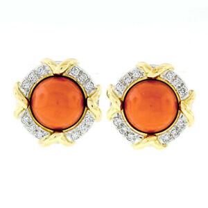 Tiffany & Co. 1985 18k Yel Gold & Platinum GIA Coral & Diamond Button Earrings