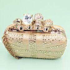 Brass Knuckle Box Clutch Purse Gold Goth Skull & Jewels Bling