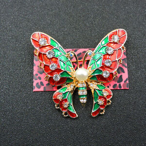 New Betsey Johnson Enamel Decorate Pearl Butterfly Crystal Charm Brooch Pin