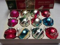 VTG RARE SHINY BRITE CHRISTMAS ORNAMENTS  IN BOX , MICA. STENCIL. TORNADO, ETC