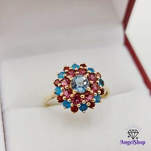 9ct Gold Ring Size T - 10 Natural Rhodolite Garnet & Topaz