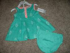 Carters Baby Girl 3 Months Teal Flower Summer Dress Set Size 3M NWT 0-3 mo $24