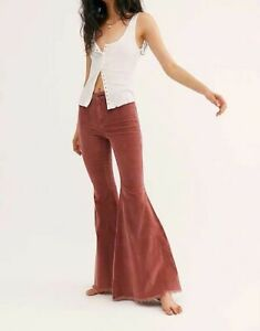 NWOT Free People Just Float On Cord Flare Russet Acorn Jeans Pants