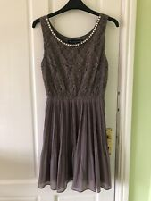 Ladies grey dress with beaded pearl neckline from House of Fraser - Size 10