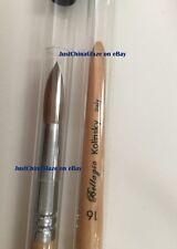Professional Kolinsky SILVER HANDLE Acrylic Nail Brush Round Size 16