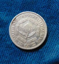 1932 South Africa Suid Afrika 6D six pence silver coin