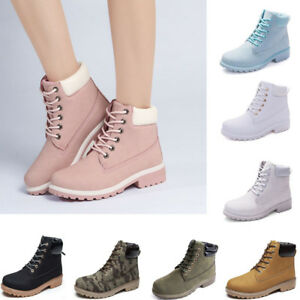 Women's Ankle Boots Winter High Top Warm Booties Outdoor Lace Up Riding Shoes