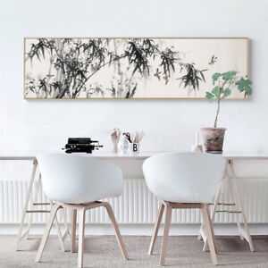 XXL Canvas Art - Panoramic Bamboo & Tree Birds Botanical Print Decor - Unframed