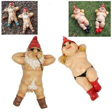 Nude Garden Gnome Couple Rude Naked Nudist Laying Down on Back (set of 2) BL BLK