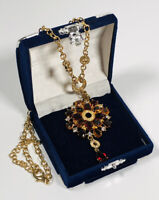 Vintage Inspired Necklace Gold Tone Chain Large Crystal Pendant Sparkly Costume