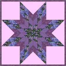Lilacs Star in Bloom - Made in USA, Machine Pieced