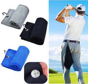 Tri-fold Golf Towel Premium Microfiber Fabric Waffle Pattern Carabiner Clip