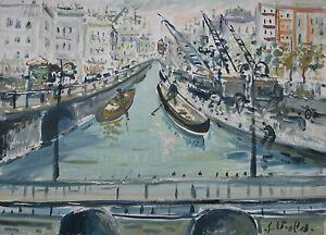 Giuseppe VIOLA (Milano 1933-2010) NAVIGLIO di MILANO Olio su tela 50x70 anno2000