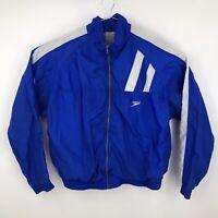 Mens XL Vintage 90s Speedo Windbreaker Jacket USA White Blue Color Block Zip
