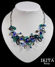 Luxus Halskette Kette Collier Ikita Paris Metall Grau Stein Glas Strass Blau
