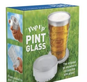 2 X Pop Up Pint Beer Cup Pocket Size Festival Picnic Camping Eco Friendly Travel