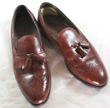 VINTAGE FOOTJOY CLASSICS MEN BROWN LEATHER TASSEL LOAFERS SZ 9 1/2 A MADE IN USA