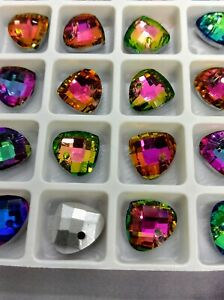 Sector Heart Glass Crystal Beads Rainbow Colours Mix Iridescent 14 mm 28 PCS
