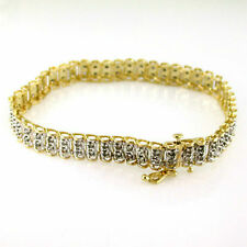 10 Carat Yellow Gold Not Enhanced Fine Diamond Bracelets