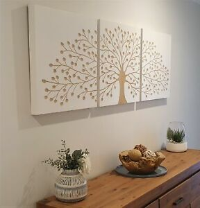 TREE OF LIFE-WHITE-CARVED TIMBER WALL ART-DECO 3 PANEL WOOD CARVING-THREE PIECE