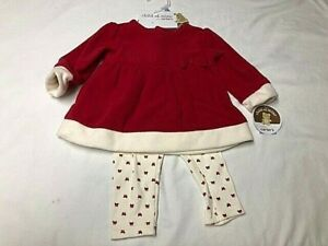 Child of Mine Girls Outfit - Dress w/ Leggings Red & Cream 3 - 6 Mon By Carter's