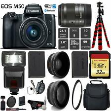 Canon EOS M50 Mirrorless Digital Camera +15-45mm Lens+ UV FLD CPL Filter Kit + W