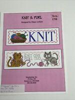 Imaginating #1798 Knit & Purl - Cross Stitch Pattern  cat