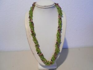 2strs.peridot& 1 strs. tourmaline chips necklace. silver plated clasp
