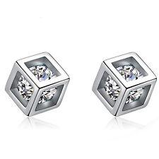 Women Jewelry Elegant 925 Sterling Silver Crystal Ear Stud  Lady Cubic Earrings