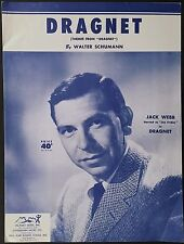 "1953 ""DRAGNET"" TV & RADIO SHEET MUSIC - THEME SONG - JACK WEBB DETECTIVE DRAMA"