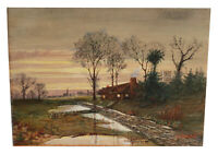 ANTIQUE LANDSCAPE HOUSE WATERCOLOR PAINTING OTTO BRANDT LISTED GERMAN ARTIST