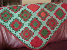 "HOME MADE HAND CROCHET SQUARE AFGHAN THROW 38""x 38"", GREEN & RED"