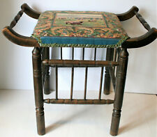 More details for antique victorian piano stool canterbury style with hand stitched tapestry seat