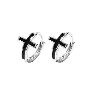 Sterling Silver Black Glazed Cross 8mm Hoop Huggie Unisex Earrings