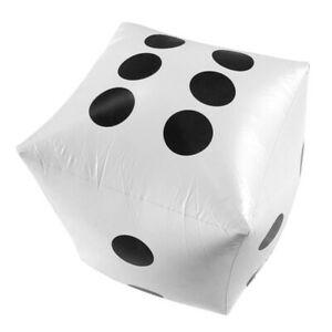 A1ST 35cm Inflatable Dice Entertainment Prop Blow-Up Cube Big Dice Toy (White)