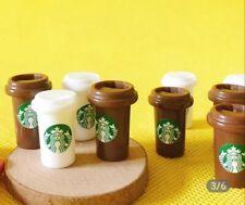 Doll House Accessories 1:12th Miniature - Set of 2 Mini Starbucks Coffee Holder