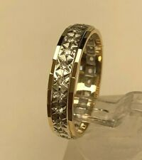9ct solid gold & white Topaz set eternity band ring 3.53g size R 1/4 -  8 3/4