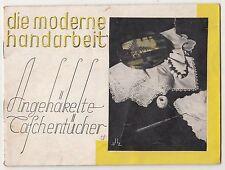 Die moderne Handarbeit Angehäkelte Taschentücher Vorlagen um 1950 ! (H1