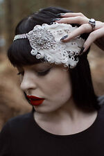 Nude Cream & Silver Feather Flapper Headpiece 1920s Vintage Headband Crystal Q35