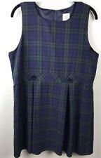 Lands End Girls Sz 16 Plus School Uniform Jumper Dress Green Blue Plaid Pleated
