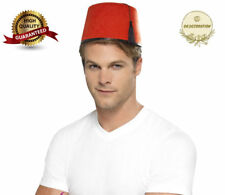 Adult Red Fez Tarboosh Hat  Moroccan Turkish Fancy Dress Up Costume Accessories
