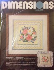 "Vintage Dimensions ""Ribbons'N Lace Bouquet"" Longstitch Needlepoint Kit #2282 NIP"